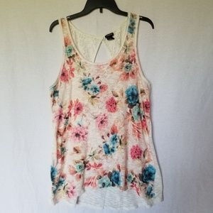 TORRID LACE BACK FLORAL TANK TOP SIZE 1X